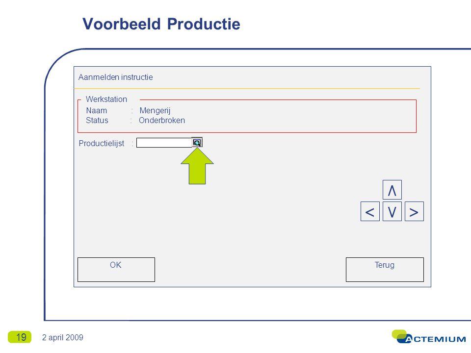 19 Aanmelden instructie Naam : Mengerij Status : Onderbroken Productielijst : Werkstation Terug < ٨ >٧ OK Voorbeeld Productie 2 april 2009