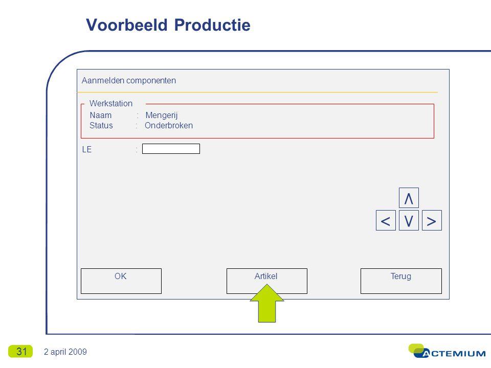 31 Aanmelden componenten Naam : Mengerij Status : Onderbroken LE : Werkstation Terug < ٨ >٧ OKArtikel Voorbeeld Productie 2 april 2009