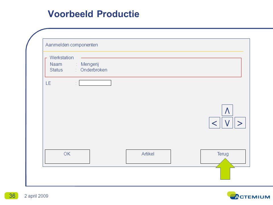 36 Aanmelden componenten Naam : Mengerij Status : Onderbroken LE : Werkstation Terug < ٨ >٧ OKArtikel Voorbeeld Productie 2 april 2009