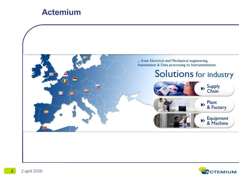 Actemium SCE 5 2 april 2009 Actemium SCE is de specialist voor datacollectie en procesverbetering in de supply chain.