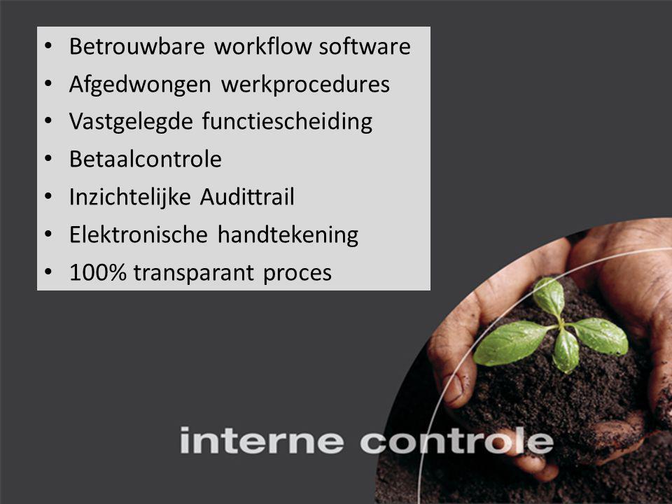 Betrouwbare workflow software Afgedwongen werkprocedures Vastgelegde functiescheiding Betaalcontrole Inzichtelijke Audittrail Elektronische handtekening 100% transparant proces
