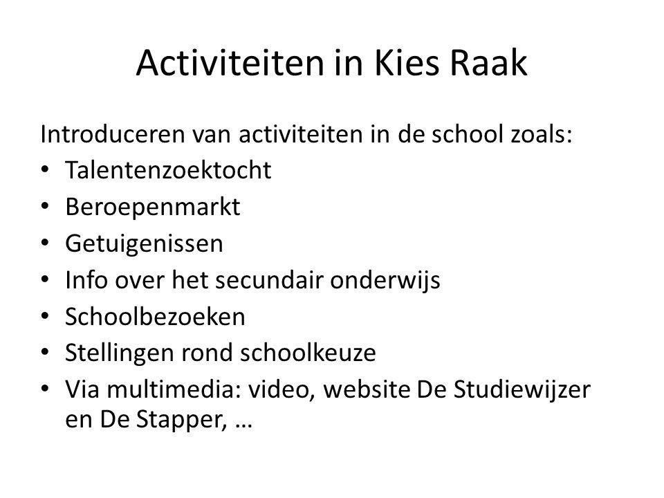Activiteiten in Kies Raak Introduceren van activiteiten in de school zoals: Talentenzoektocht Beroepenmarkt Getuigenissen Info over het secundair onde