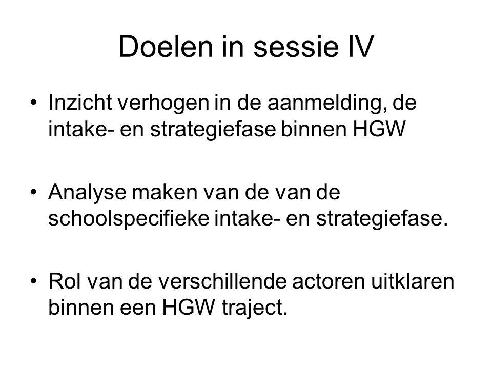 Doelen in sessie IV Inzicht verhogen in de aanmelding, de intake- en strategiefase binnen HGW Analyse maken van de van de schoolspecifieke intake- en strategiefase.