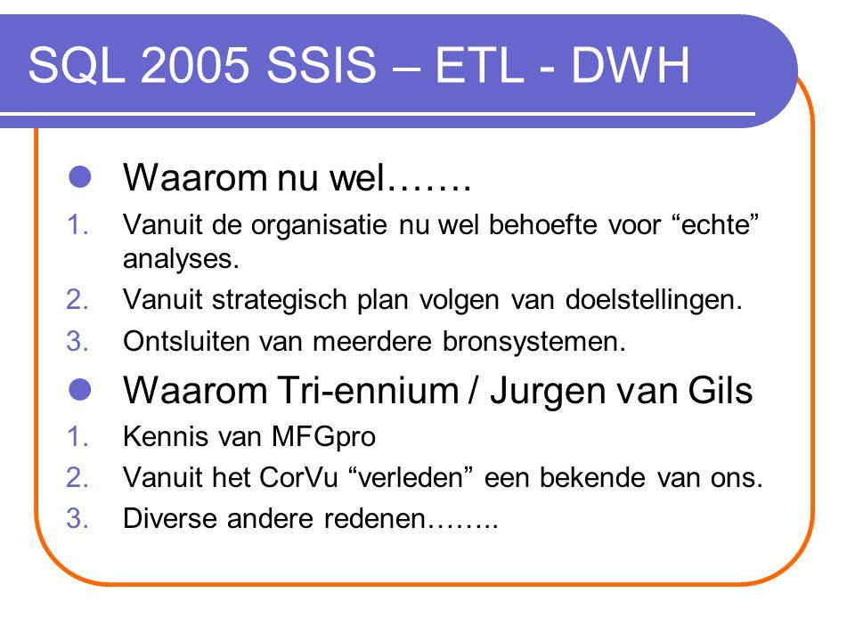 SQL 2005 SSIS – ETL - DWH Waarom nu wel…….