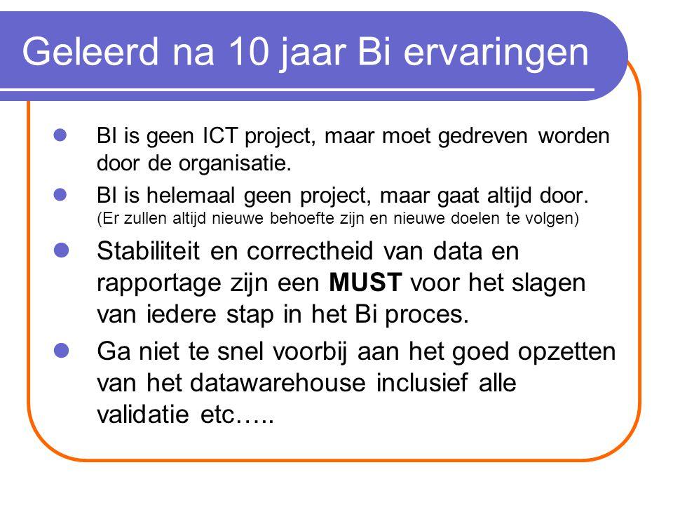 Geleerd na 10 jaar Bi ervaringen BI is geen ICT project, maar moet gedreven worden door de organisatie.