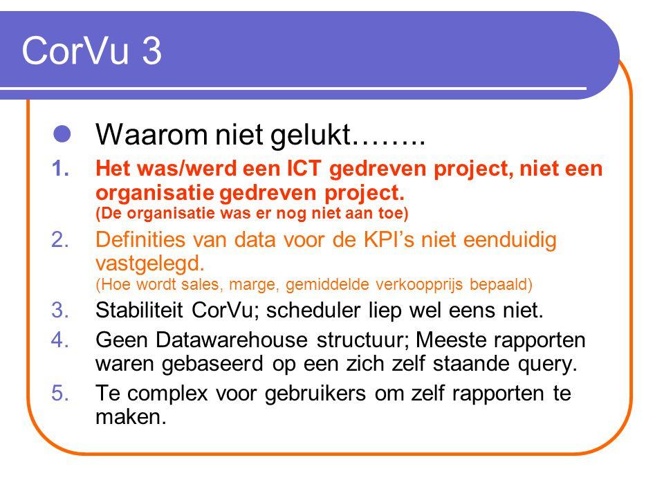 CorVu 4 Gevolgen……..1.Geen vertrouwen in de rapportages.
