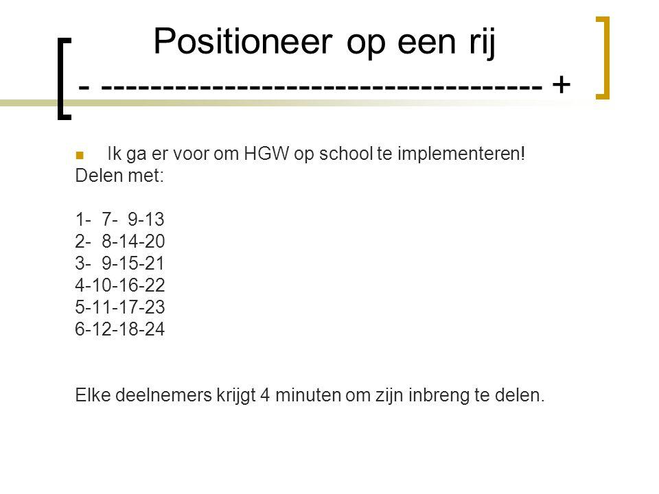 Positioneer op een rij - ------------------------------------ + Ik ga er voor om HGW op school te implementeren.