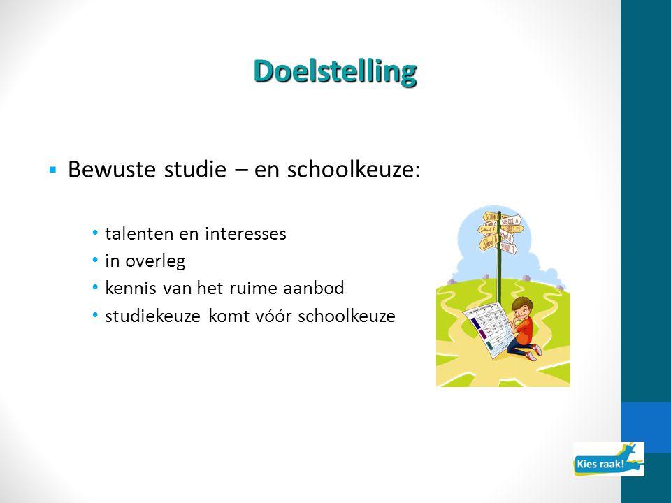 Doelstelling  Bewuste studie – en schoolkeuze: talenten en interesses in overleg kennis van het ruime aanbod studiekeuze komt vóór schoolkeuze