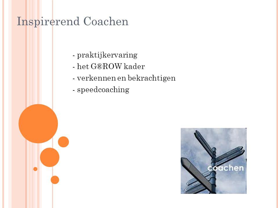 Inspirerend Coachen - praktijkervaring - het G®ROW kader - verkennen en bekrachtigen - speedcoaching