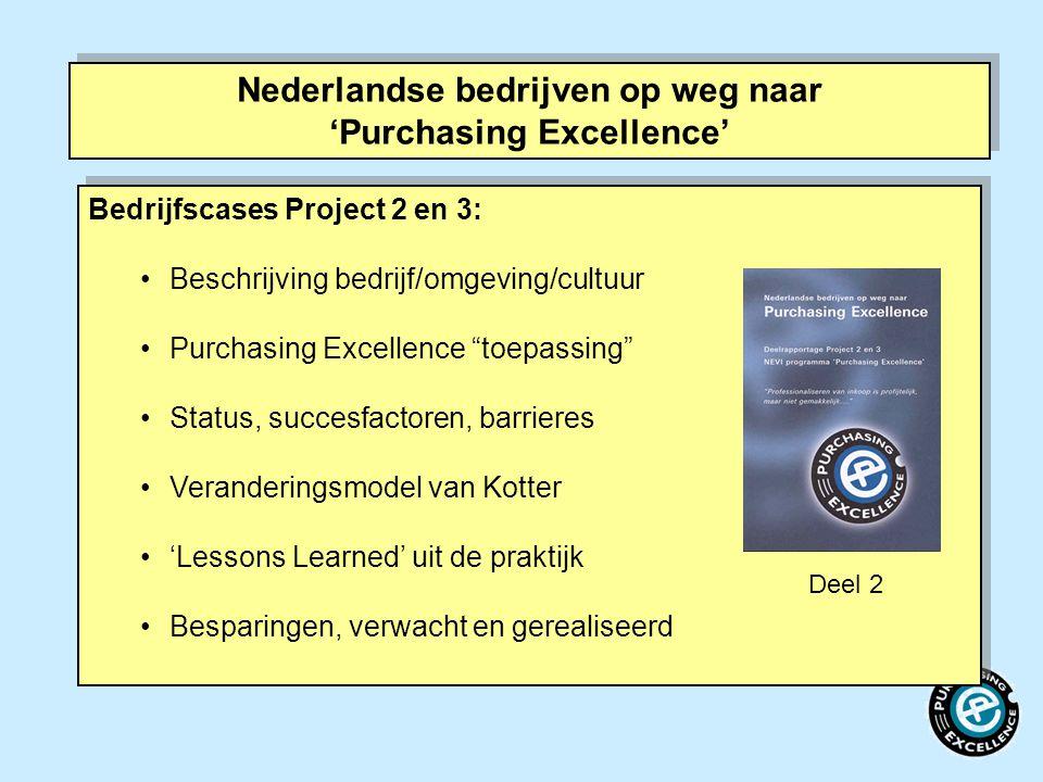 """Nederlandse bedrijven op weg naar 'Purchasing Excellence' Bedrijfscases Project 2 en 3: Beschrijving bedrijf/omgeving/cultuur Purchasing Excellence """"t"""