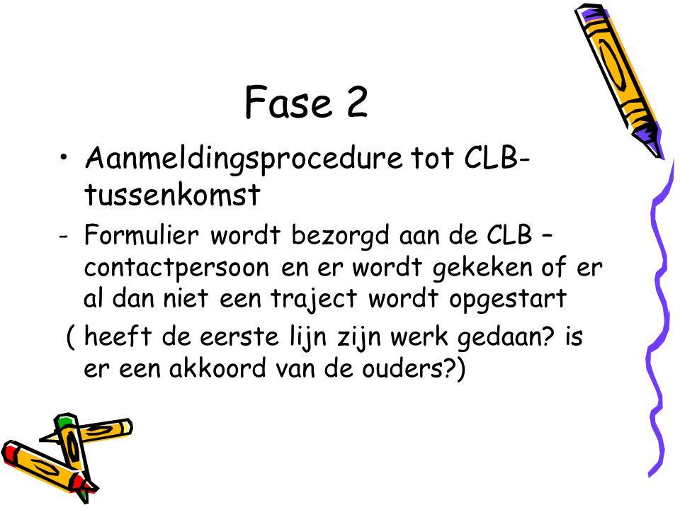 Fase 2 Aanmeldingsprocedure tot CLB- tussenkomst -Formulier wordt bezorgd aan de CLB – contactpersoon en er wordt gekeken of er al dan niet een traject wordt opgestart ( heeft de eerste lijn zijn werk gedaan.