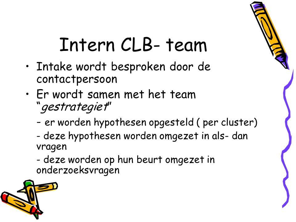 Intern CLB- team Intake wordt besproken door de contactpersoon Er wordt samen met het team gestrategiet - er worden hypothesen opgesteld ( per cluster) - deze hypothesen worden omgezet in als- dan vragen - deze worden op hun beurt omgezet in onderzoeksvragen