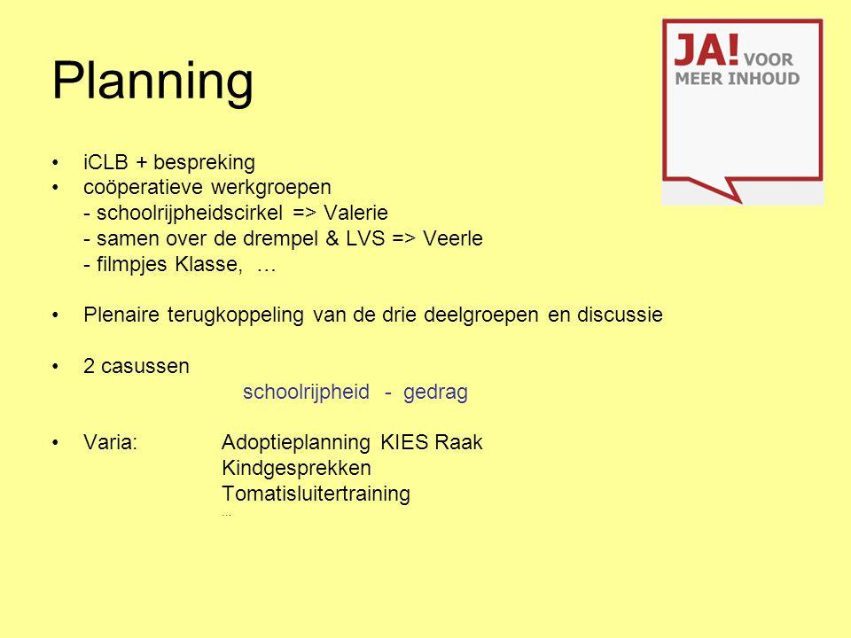 Planning iCLB + bespreking coöperatieve werkgroepen - schoolrijpheidscirkel => Valerie - samen over de drempel & LVS => Veerle - filmpjes Klasse, … Pl