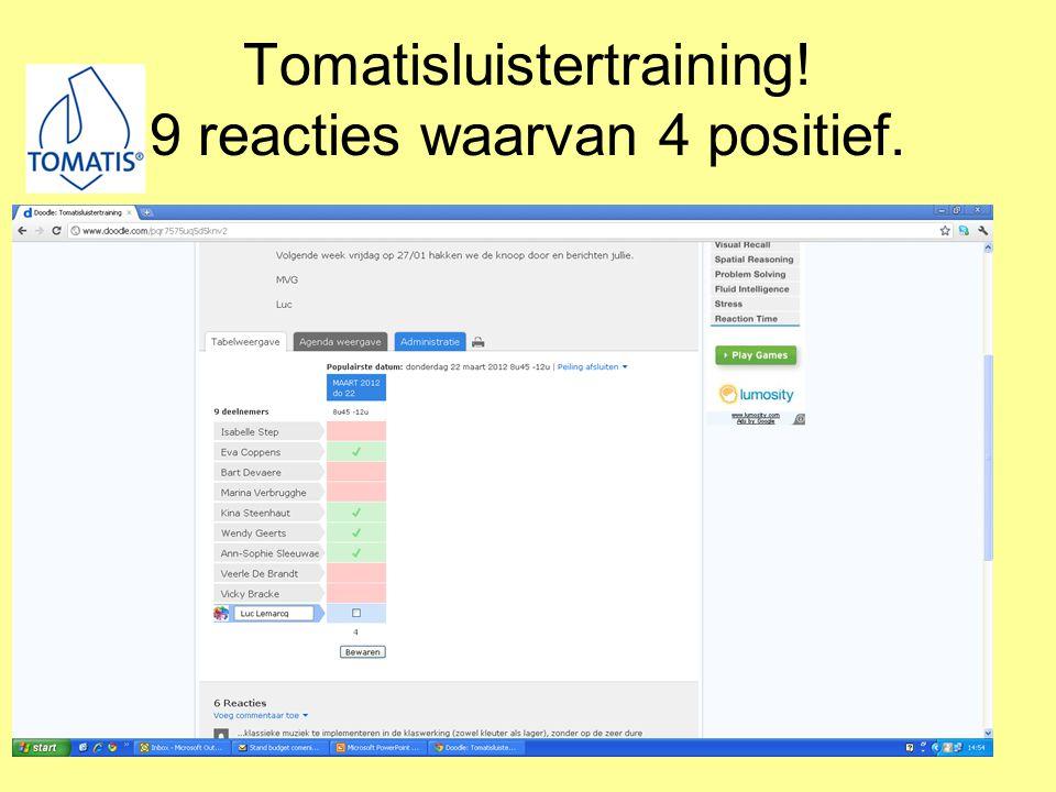 Tomatisluistertraining! 9 reacties waarvan 4 positief.