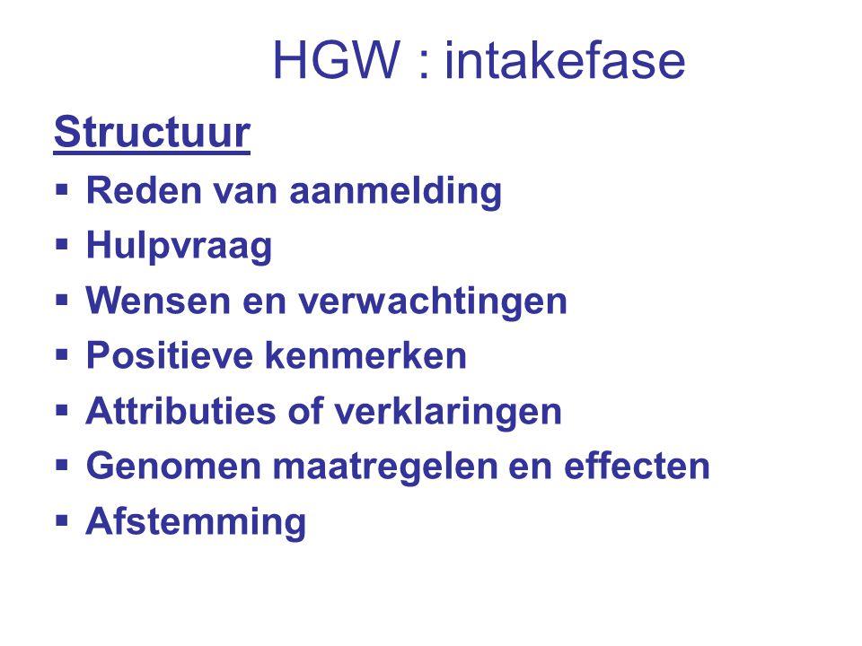 HGW : intakefase Structuur  Reden van aanmelding  Hulpvraag  Wensen en verwachtingen  Positieve kenmerken  Attributies of verklaringen  Genomen maatregelen en effecten  Afstemming