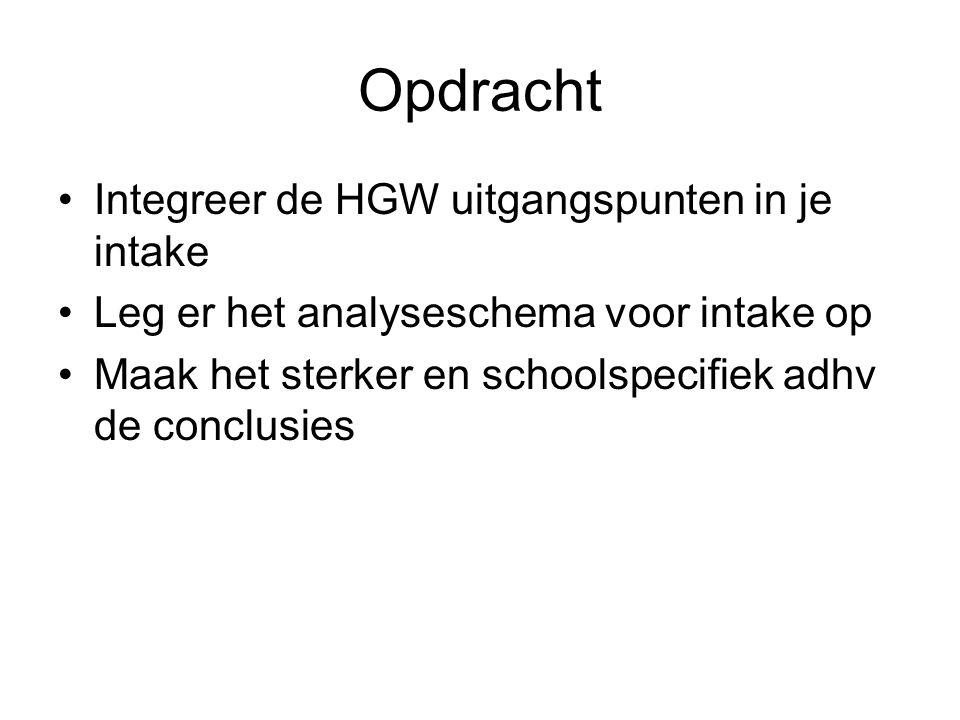 Opdracht Integreer de HGW uitgangspunten in je intake Leg er het analyseschema voor intake op Maak het sterker en schoolspecifiek adhv de conclusies