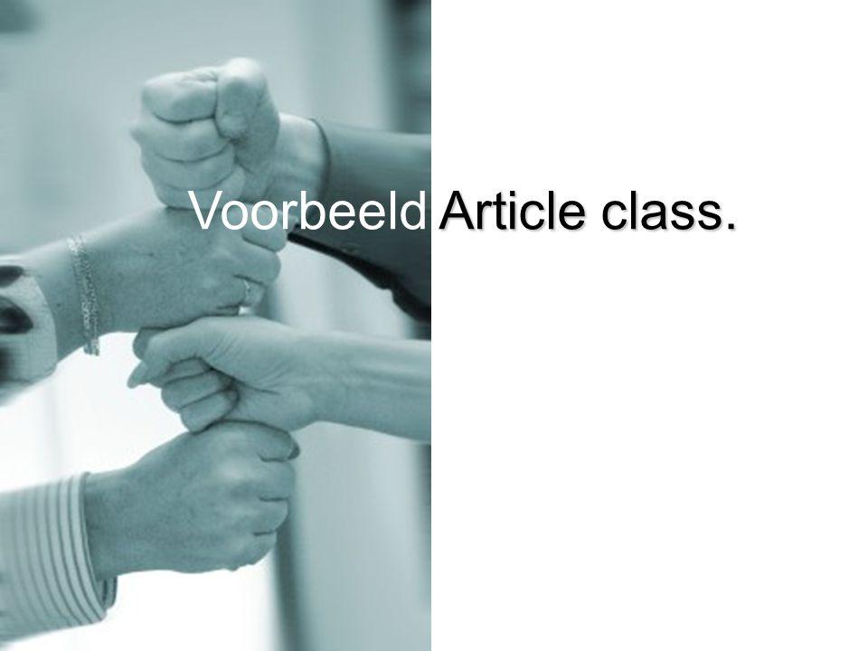 Article class. Voorbeeld Article class.