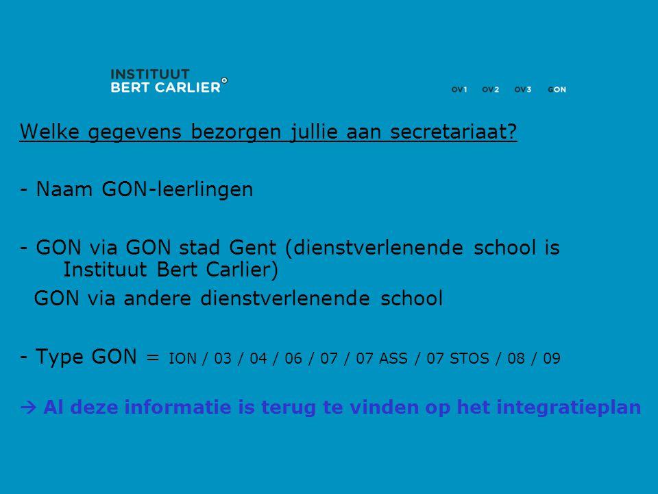 Welke gegevens bezorgen jullie aan secretariaat? - Naam GON-leerlingen - GON via GON stad Gent (dienstverlenende school is Instituut Bert Carlier) GON