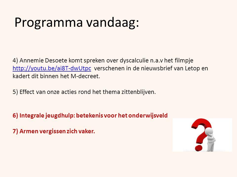 Programma vandaag: 4) Annemie Desoete komt spreken over dyscalculie n.a.v het filmpje http://youtu.be/ai8T-dwUtpc verschenen in de nieuwsbrief van Let