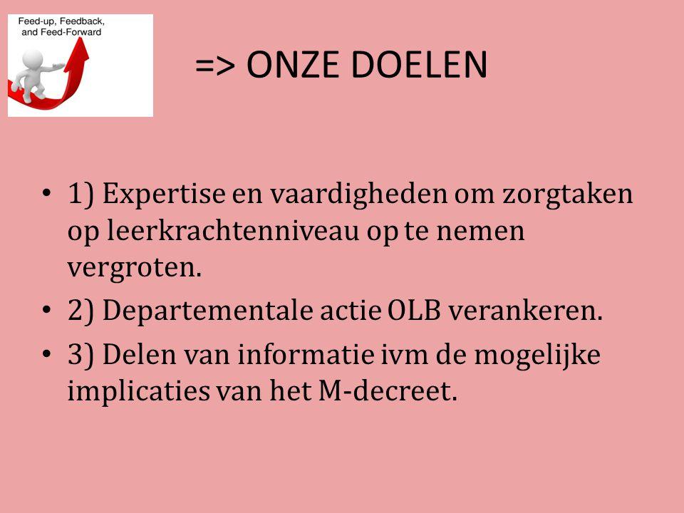 => ONZE DOELEN 1) Expertise en vaardigheden om zorgtaken op leerkrachtenniveau op te nemen vergroten.