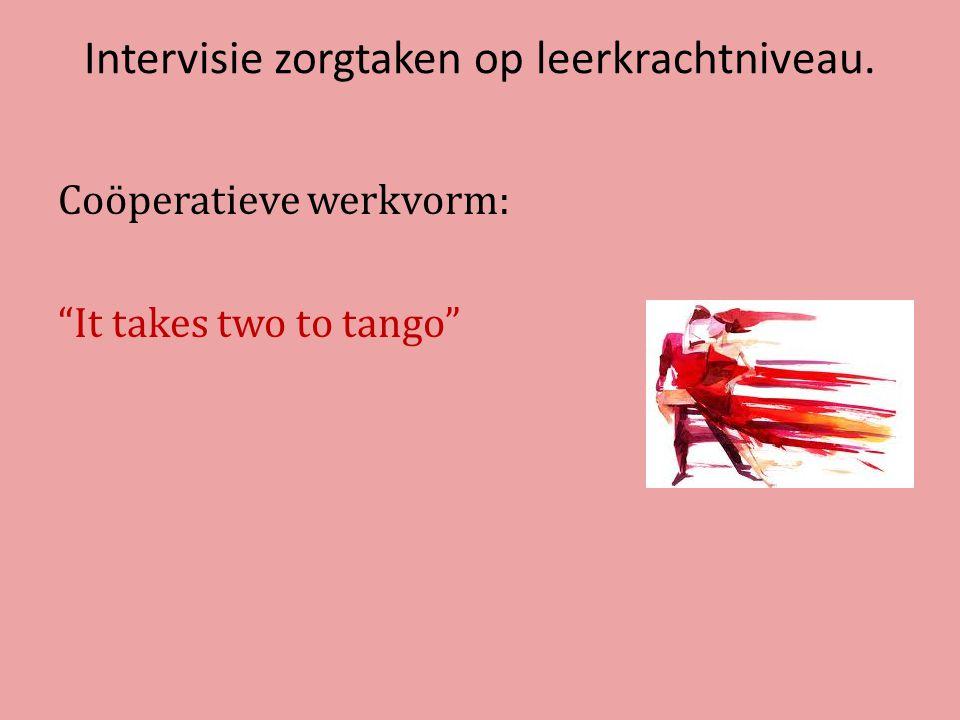 Intervisie zorgtaken op leerkrachtniveau. Coöperatieve werkvorm: It takes two to tango