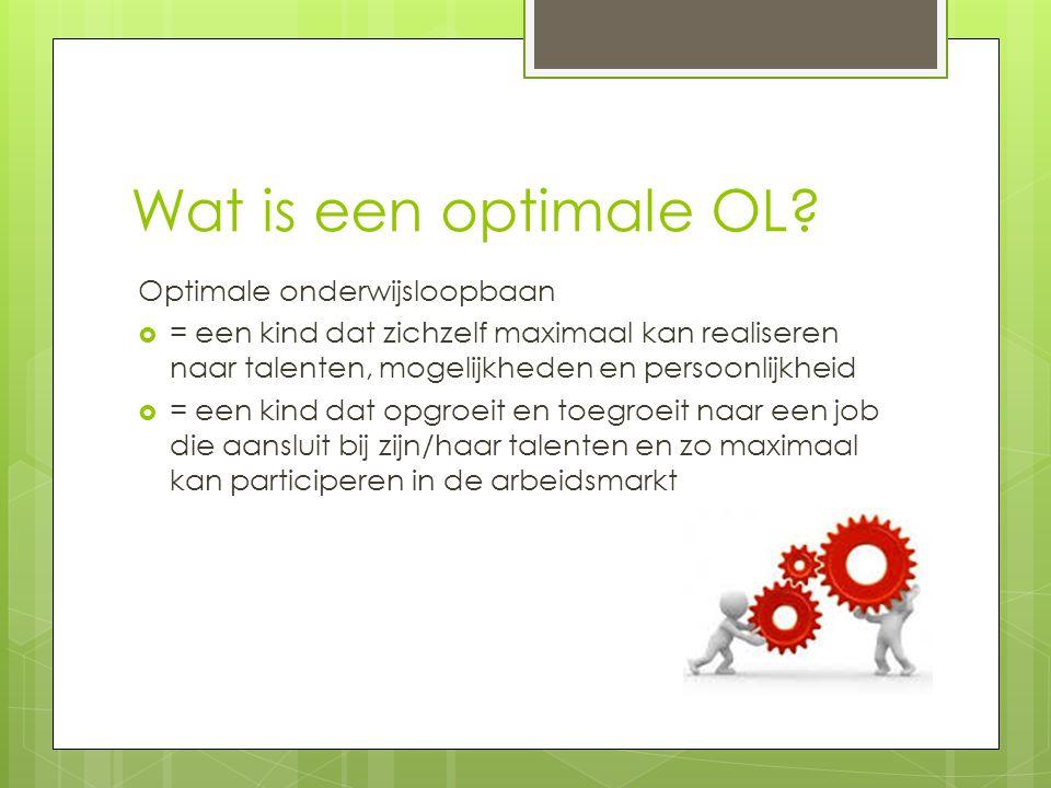 Wat is een optimale OL? Optimale onderwijsloopbaan  = een kind dat zichzelf maximaal kan realiseren naar talenten, mogelijkheden en persoonlijkheid 