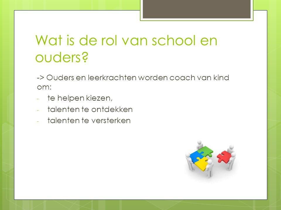 Wat is de rol van school en ouders.