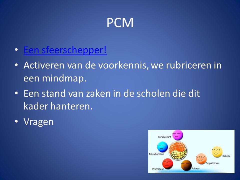 PCM Een sfeerschepper! Activeren van de voorkennis, we rubriceren in een mindmap. Een stand van zaken in de scholen die dit kader hanteren. Vragen