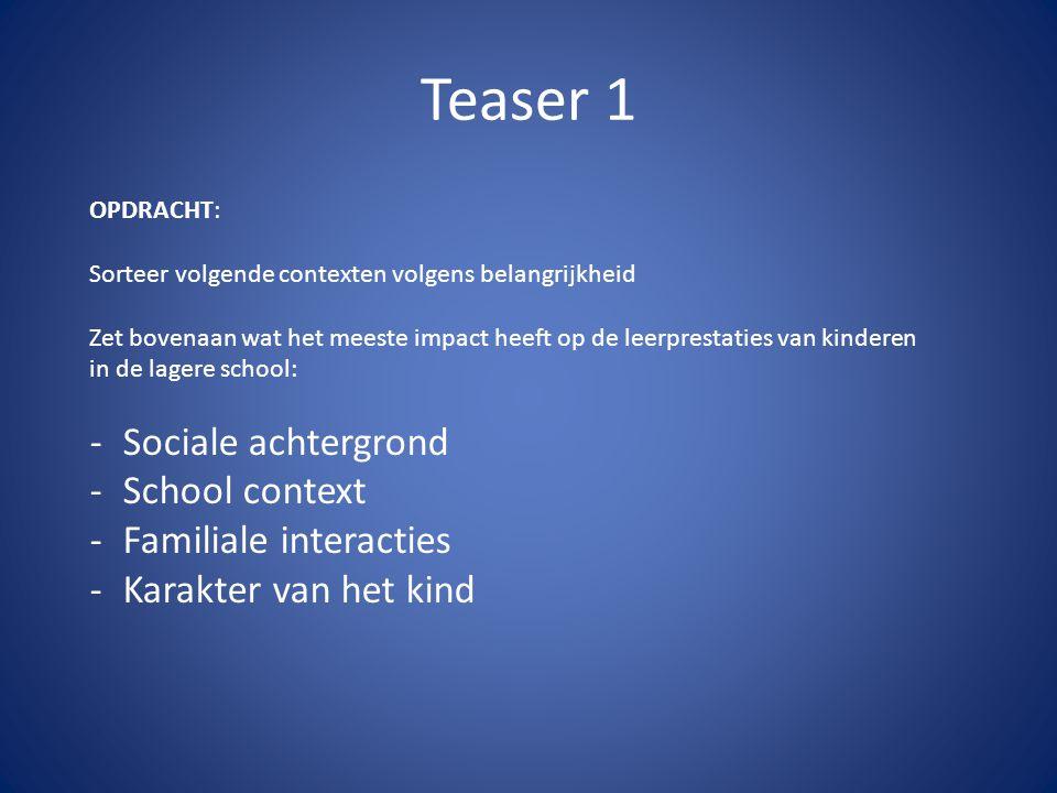 Teaser 1 OPDRACHT: Sorteer volgende contexten volgens belangrijkheid Zet bovenaan wat het meeste impact heeft op de leerprestaties van kinderen in de