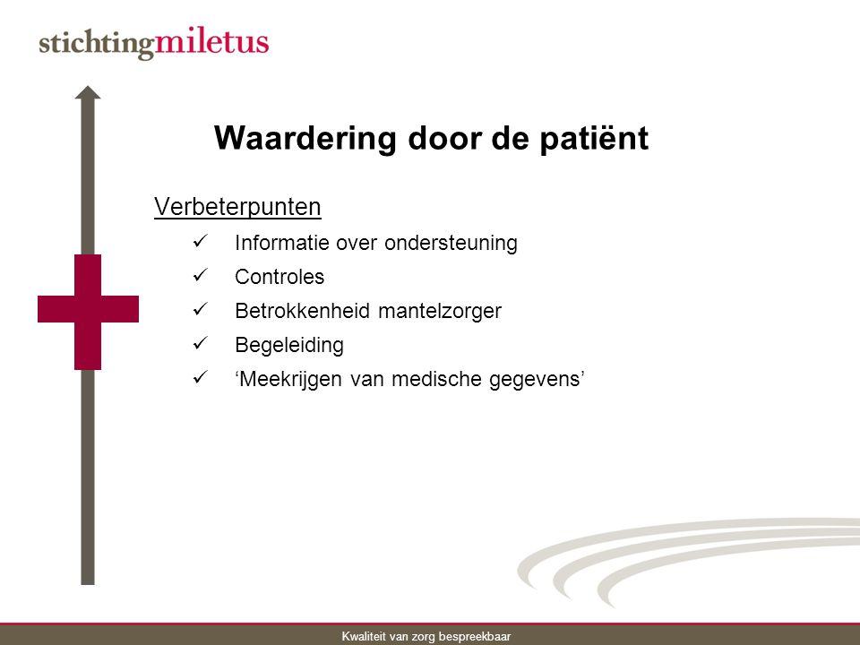 Kwaliteit van zorg bespreekbaar Waardering door de patiënt Verbeterpunten Informatie over ondersteuning Controles Betrokkenheid mantelzorger Begeleiding 'Meekrijgen van medische gegevens'