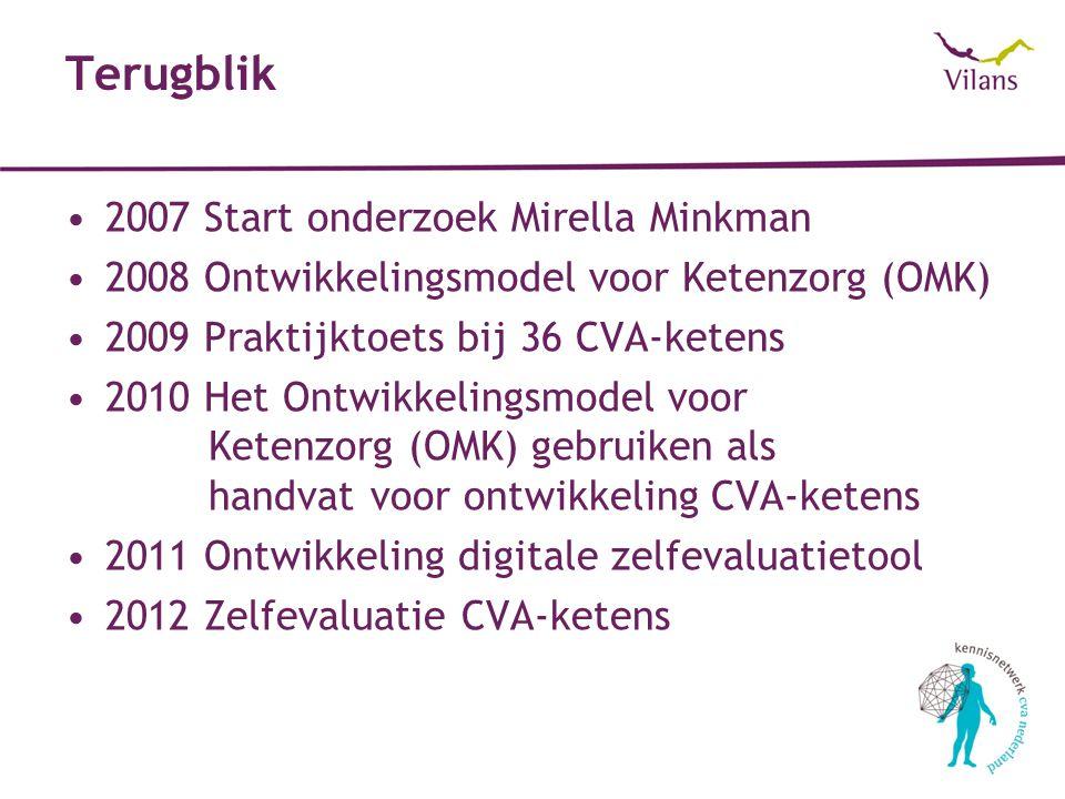 Terugblik 2007 Start onderzoek Mirella Minkman 2008 Ontwikkelingsmodel voor Ketenzorg (OMK) 2009 Praktijktoets bij 36 CVA-ketens 2010 Het Ontwikkelingsmodel voor Ketenzorg (OMK) gebruiken als handvat voor ontwikkeling CVA-ketens 2011 Ontwikkeling digitale zelfevaluatietool 2012 Zelfevaluatie CVA-ketens