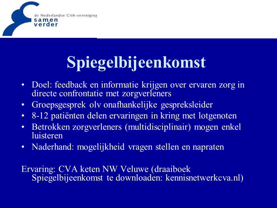 Spiegelbijeenkomst Doel: feedback en informatie krijgen over ervaren zorg in directe confrontatie met zorgverleners Groepsgesprek olv onafhankelijke g