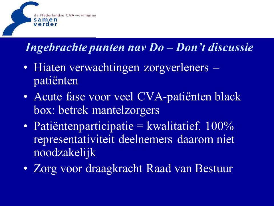 Ingebrachte punten nav Do – Don't discussie Hiaten verwachtingen zorgverleners – patiënten Acute fase voor veel CVA-patiënten black box: betrek mantel