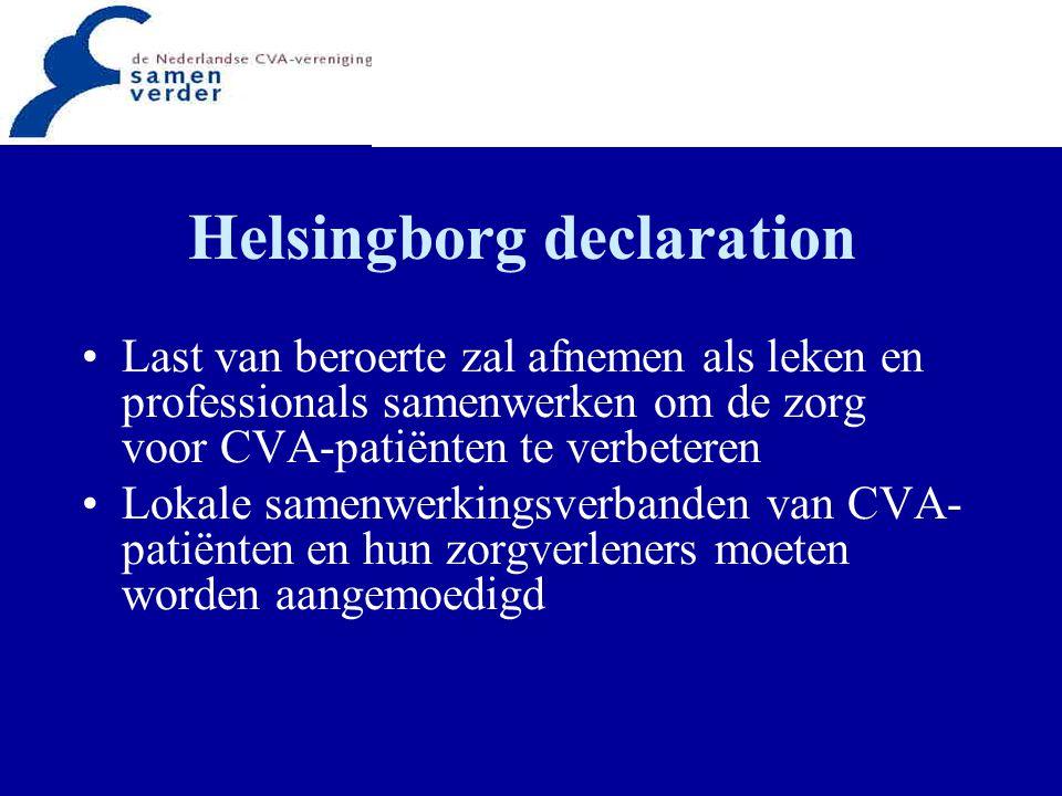 Helsingborg declaration Last van beroerte zal afnemen als leken en professionals samenwerken om de zorg voor CVA-patiënten te verbeteren Lokale samenw