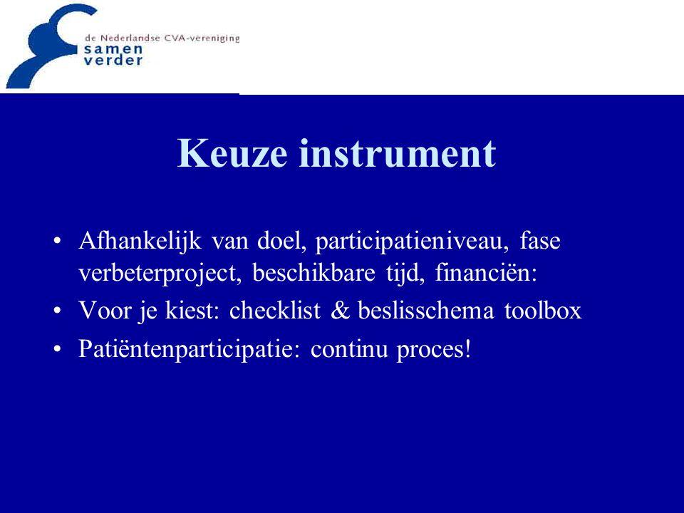 Keuze instrument Afhankelijk van doel, participatieniveau, fase verbeterproject, beschikbare tijd, financiën: Voor je kiest: checklist & beslisschema