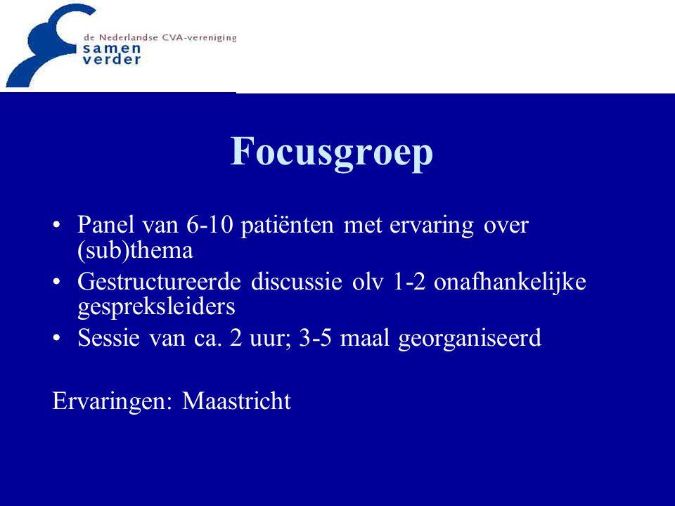Focusgroep Panel van 6-10 patiënten met ervaring over (sub)thema Gestructureerde discussie olv 1-2 onafhankelijke gespreksleiders Sessie van ca. 2 uur