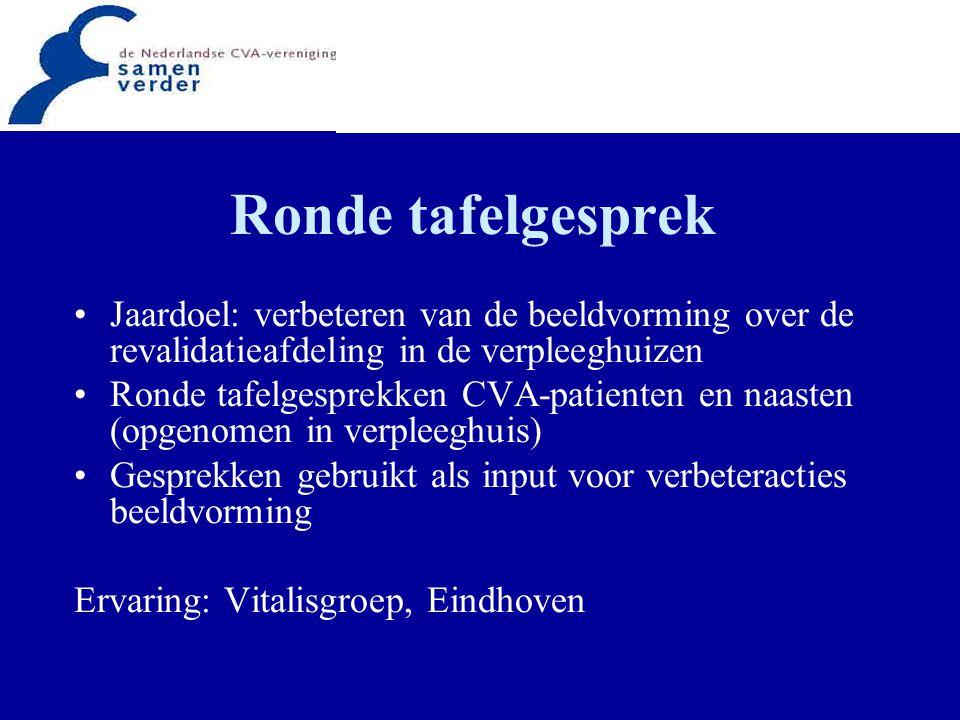 Ronde tafelgesprek Jaardoel: verbeteren van de beeldvorming over de revalidatieafdeling in de verpleeghuizen Ronde tafelgesprekken CVA-patienten en na