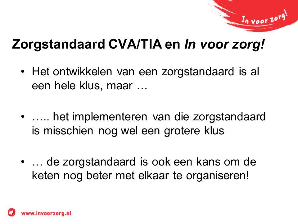 Zorgstandaard CVA/TIA en In voor zorg! Het ontwikkelen van een zorgstandaard is al een hele klus, maar … ….. het implementeren van die zorgstandaard i