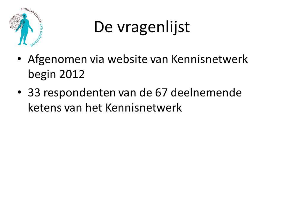 De vragenlijst Afgenomen via website van Kennisnetwerk begin 2012 33 respondenten van de 67 deelnemende ketens van het Kennisnetwerk