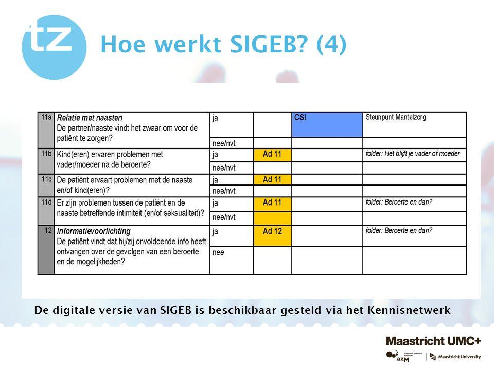 Hoe werkt SIGEB? (4) De digitale versie van SIGEB is beschikbaar gesteld via het Kennisnetwerk