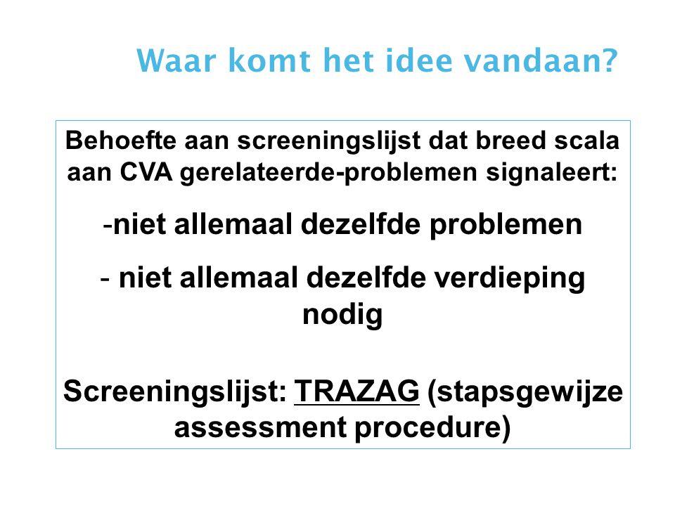 Behoefte aan screeningslijst dat breed scala aan CVA gerelateerde-problemen signaleert: -niet allemaal dezelfde problemen - niet allemaal dezelfde ver