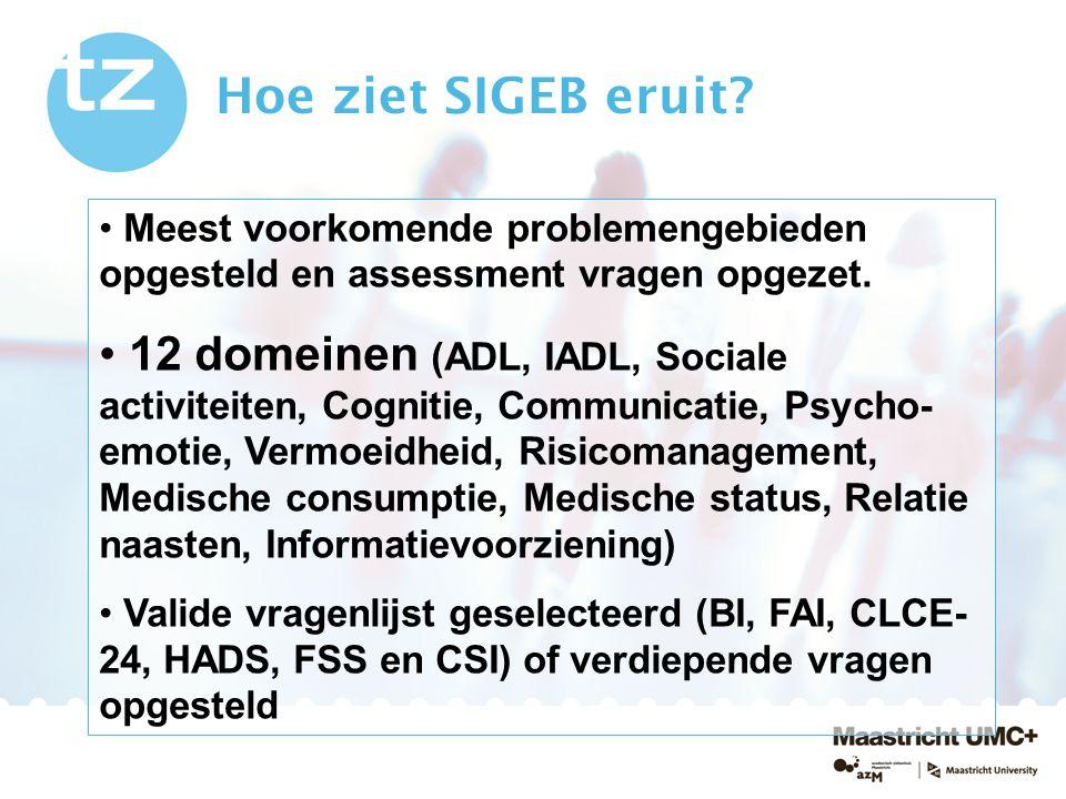 Hoe ziet SIGEB eruit? Meest voorkomende problemengebieden opgesteld en assessment vragen opgezet. 12 domeinen (ADL, IADL, Sociale activiteiten, Cognit