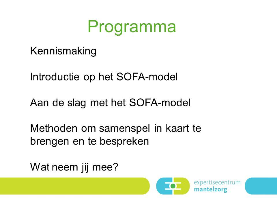 Programma Kennismaking Introductie op het SOFA-model Aan de slag met het SOFA-model Methoden om samenspel in kaart te brengen en te bespreken Wat neem jij mee?