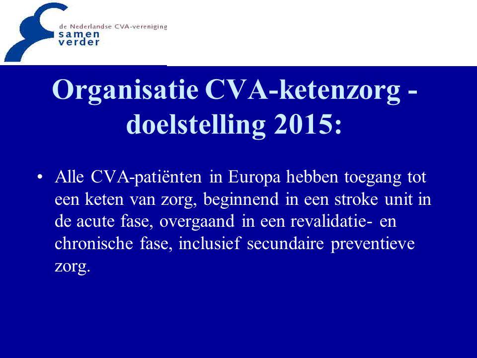 Organisatie CVA-ketenzorg - doelstelling 2015: Alle CVA-patiënten in Europa hebben toegang tot een keten van zorg, beginnend in een stroke unit in de acute fase, overgaand in een revalidatie- en chronische fase, inclusief secundaire preventieve zorg.