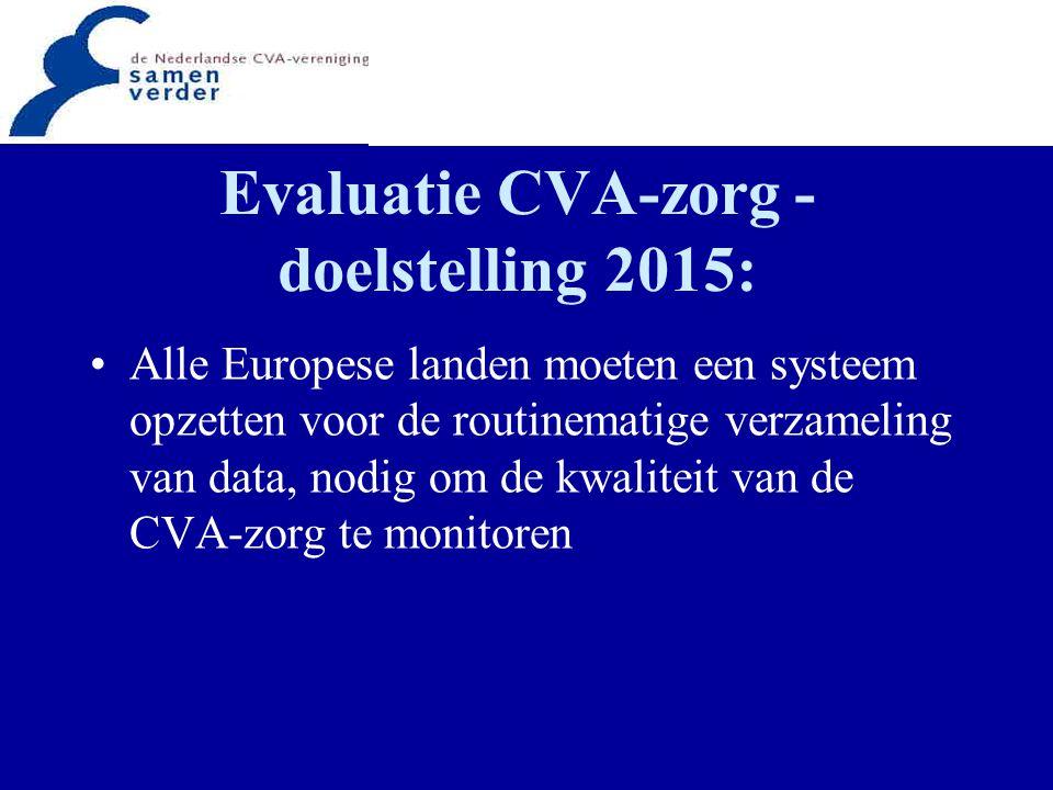Evaluatie CVA-zorg structuur, proces en uitkomsten van CVA-zorg dienen te worden gemeten bij routinematig meten kan aantal indicatoren beperkt worden nationale registraties moeten worden geïnitieerd om voor elk land betrouwbare data te verkrijgen over de kwaliteit van de CVA-zorg