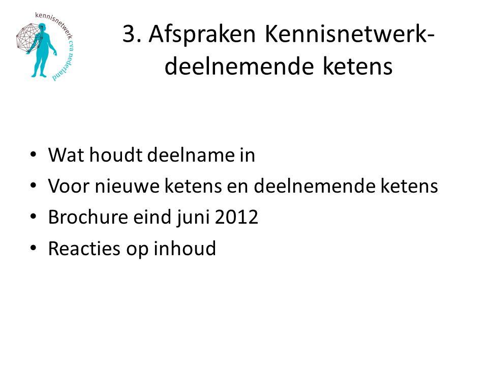 3. Afspraken Kennisnetwerk- deelnemende ketens Wat houdt deelname in Voor nieuwe ketens en deelnemende ketens Brochure eind juni 2012 Reacties op inho