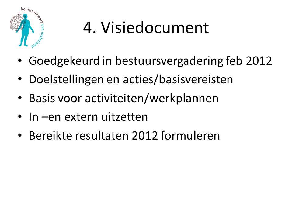 4. Visiedocument Goedgekeurd in bestuursvergadering feb 2012 Doelstellingen en acties/basisvereisten Basis voor activiteiten/werkplannen In –en extern