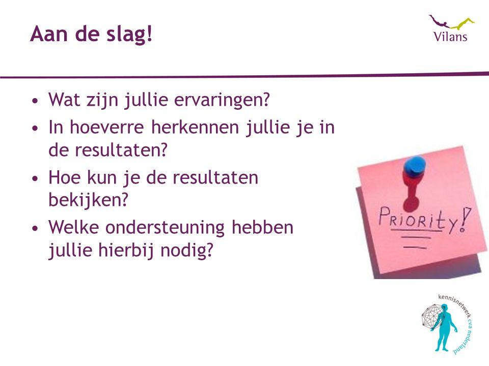 Bekijken van resultaten (1) Rapportage (bijlage) Online http://zelfevaluatieketenzorg.vilans.nlhttp://zelfevaluatieketenzorg.vilans.nl 1.Inloggen met gebruikersnaam & wachtwoord 2.Knop analyse 3.Bereken eigen resultaat 4.Resultaten bekijken Voorbeeld: keten Amsterdam-Oost