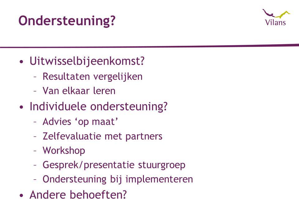 Ondersteuning? Uitwisselbijeenkomst? –Resultaten vergelijken –Van elkaar leren Individuele ondersteuning? –Advies 'op maat' –Zelfevaluatie met partner