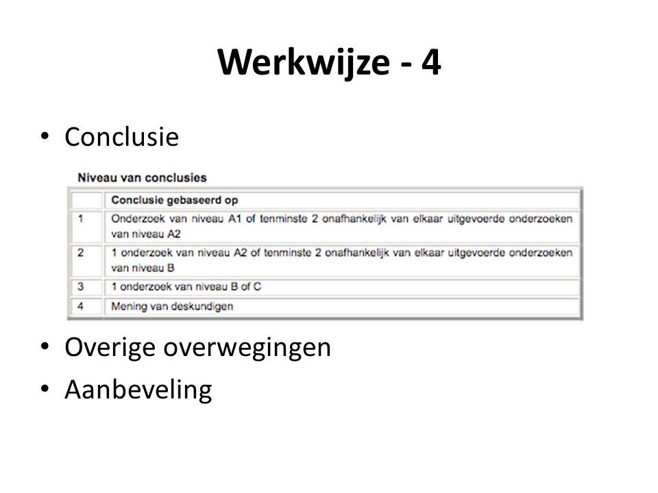 Werkwijze - 4 Conclusie Overige overwegingen Aanbeveling